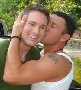 Gay Guy kissing his patner